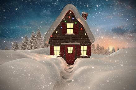 Composite image of christmas house against fir tree forest in snowy landscape