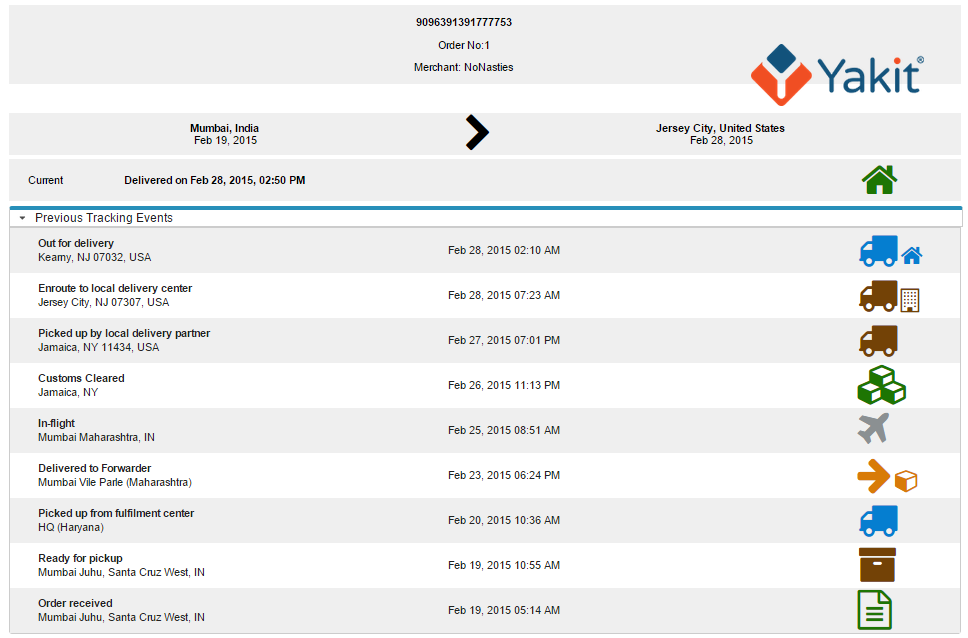 Shipment tracking dashboard powered by Yakit